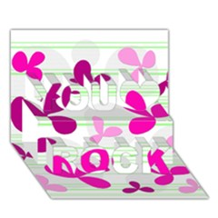 Magenta Floral Pattern You Rock 3d Greeting Card (7x5) by Valentinaart