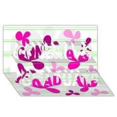 Magenta Floral Pattern Congrats Graduate 3d Greeting Card (8x4) by Valentinaart