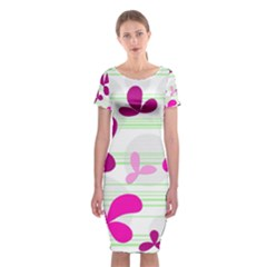Magenta Floral Pattern Classic Short Sleeve Midi Dress by Valentinaart