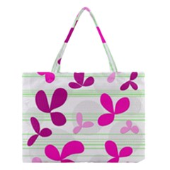 Magenta Floral Pattern Medium Tote Bag by Valentinaart