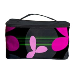 Magenta Floral Design Cosmetic Storage Case by Valentinaart