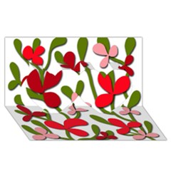 Floral Tree Twin Hearts 3d Greeting Card (8x4) by Valentinaart