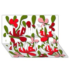 Floral Tree Laugh Live Love 3d Greeting Card (8x4)