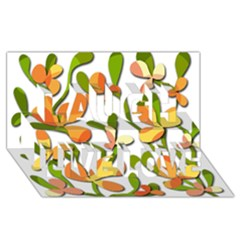 Decorative Floral Tree Laugh Live Love 3d Greeting Card (8x4)