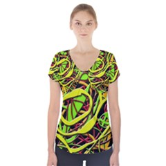 Snake Bush Short Sleeve Front Detail Top by Valentinaart