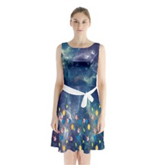 Galaxy Sleeveless Chiffon Waist Tie Dress by Wanni