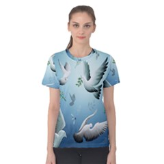 Animated Nature Wallpaper Animated Bird Women s Cotton Tee by AnjaniArt