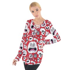 Another Monster Pattern Women s Tie Up Tee