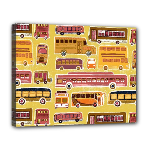 Bus Cartoons Logo Canvas 14  X 11
