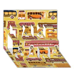 Bus Cartoons Logo Take Care 3d Greeting Card (7x5)