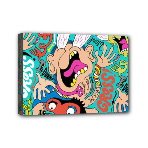 Cartoons Funny Face Patten Mini Canvas 7  X 5  by AnjaniArt