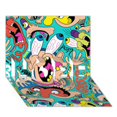Cartoons Funny Face Patten Hope 3d Greeting Card (7x5)