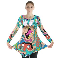 Cartoons Funny Face Patten Long Sleeve Tunic  by AnjaniArt