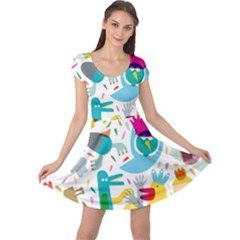 Colorful Cartoon Funny People Cap Sleeve Dresses