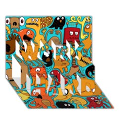 Creature Cluster Work Hard 3d Greeting Card (7x5)