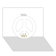 M Monogram Initial Letter M Golden Chic Stylish Typography Gold Peace Sign 3d Greeting Card (7x5)
