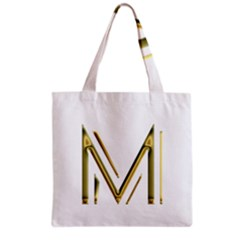 M Monogram Initial Letter M Golden Chic Stylish Typography Gold Grocery Tote Bag