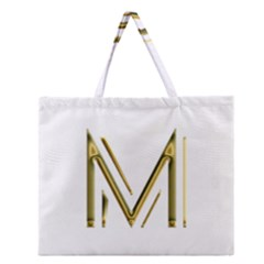 M Monogram Initial Letter M Golden Chic Stylish Typography Gold Zipper Large Tote Bag