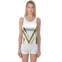 M Monogram Initial Letter M Golden Chic Stylish Typography Gold One Piece Boyleg Swimsuit