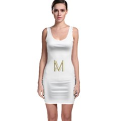 M Monogram Initial Letter M Golden Chic Stylish Typography Gold Sleeveless Bodycon Dress