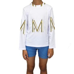 M Monogram Initial Letter M Golden Chic Stylish Typography Gold Kids  Long Sleeve Swimwear