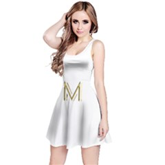 M Monogram Initial Letter M Golden Chic Stylish Typography Gold Reversible Sleeveless Dress