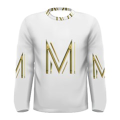 M Monogram Initial Letter M Golden Chic Stylish Typography Gold Men s Long Sleeve Tee by yoursparklingshop