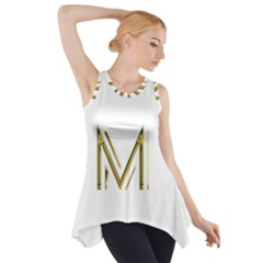 M Monogram Initial Letter M Golden Chic Stylish Typography Gold Side Drop Tank Tunic