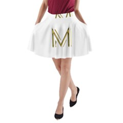 M Monogram Initial Letter M Golden Chic Stylish Typography Gold A Line Pocket Skirt by yoursparklingshop