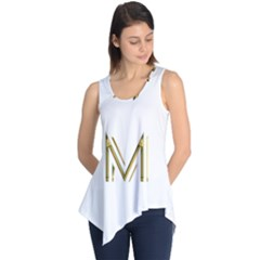 M Monogram Initial Letter M Golden Chic Stylish Typography Gold Sleeveless Tunic by yoursparklingshop