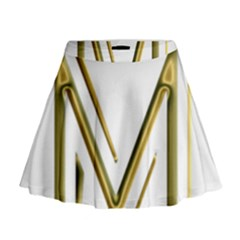 M Monogram Initial Letter M Golden Chic Stylish Typography Gold Mini Flare Skirt by yoursparklingshop