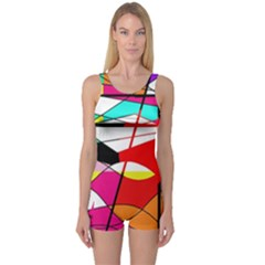 Abstract Waves One Piece Boyleg Swimsuit