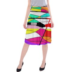 Abstract Waves Midi Beach Skirt by Valentinaart