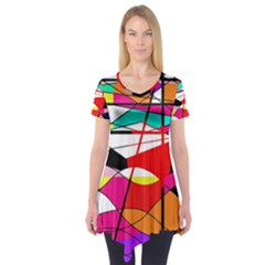 Abstract Waves Short Sleeve Tunic  by Valentinaart