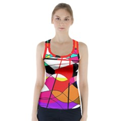 Abstract Waves Racer Back Sports Top by Valentinaart