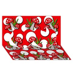 Mushrooms Pattern Twin Hearts 3d Greeting Card (8x4) by Valentinaart
