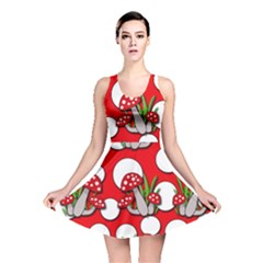 Mushrooms Pattern Reversible Skater Dress by Valentinaart