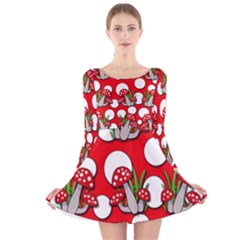 Mushrooms Pattern Long Sleeve Velvet Skater Dress by Valentinaart