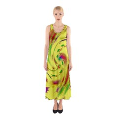 Leaf And Rainbows In The Wind Sleeveless Maxi Dress by pepitasart