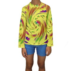 Leaf And Rainbows In The Wind Kids  Long Sleeve Swimwear by pepitasart