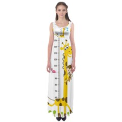 Cute Giraffe Monkey Empire Waist Maxi Dress by AnjaniArt