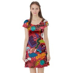E Pattern Cartoons Short Sleeve Skater Dress