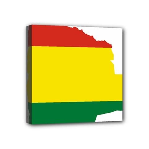 Flag Map Of Bolivia Mini Canvas 4  X 4