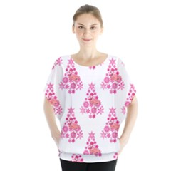 Pink Flamingo Santa Snowflake Tree  Blouse