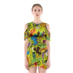 F Pattern Cartoons Cutout Shoulder Dress by AnjaniArt