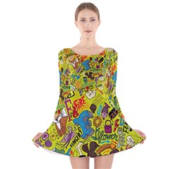 F Pattern Cartoons Long Sleeve Velvet Skater Dress by AnjaniArt