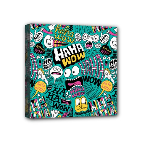 Haha Wow Pattern Mini Canvas 4  X 4