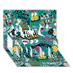 Haha Wow Pattern Get Well 3d Greeting Card (7x5) by AnjaniArt