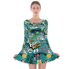 Haha Wow Pattern Long Sleeve Skater Dress by AnjaniArt