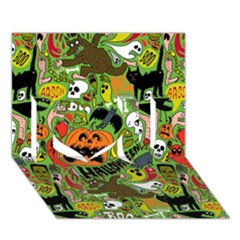 Halloween Pattern I Love You 3d Greeting Card (7x5) by AnjaniArt